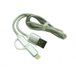 Kabel PC iPh 5 6 7 / micro usb 2w1 NYLON HQ srebrn