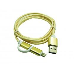 Kabel PC iPh 5 6 7 / micro usb 2w1 NYLON HQ złoty