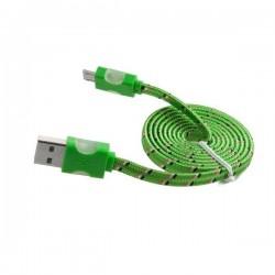 Kabel PC Micro USB sznurówka świecący zielony
