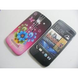 Design Case HTC Desire 500 niebieski kwiat 2