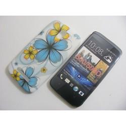 Design Case HTC Desire 500 turkusowy kwiat